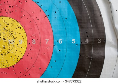 Close up of a shooting target and bullseye with holes, drilled background