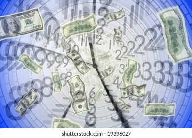 close up shot of 100 American dollar in clock