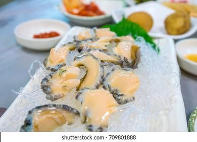 Close up shot of abalone sashimi in Busan South Korea