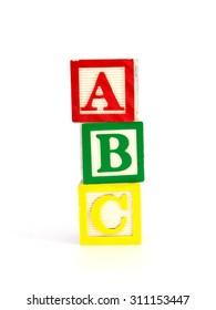 A close up shot of ABC blocks