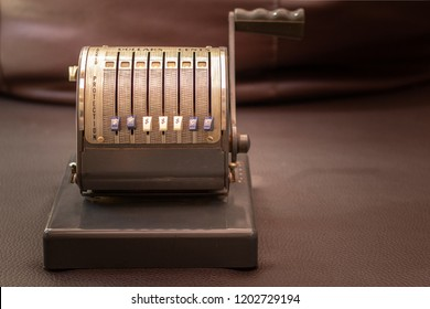 Close up shot of a antique 1950`s Vintage Checkwriter, vintage retro style concept.