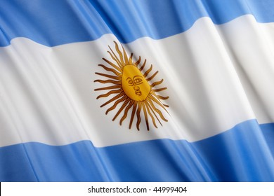 Close up shot of Argentinean flag