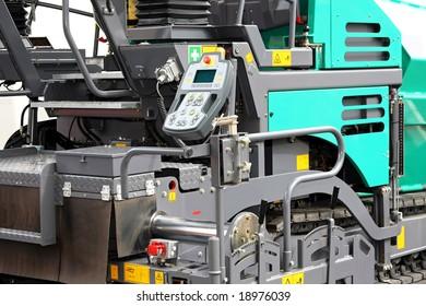 Close up shot of asphalt road machine