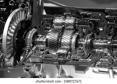 Close up shot of automotive transmission