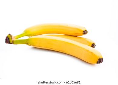 close up shot of bananas isolated on white
