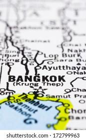 a close up shot of bangkok on map, capital of Thailand.