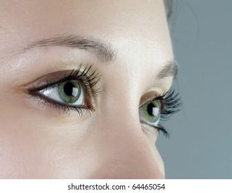 Close up shot of a beautiful green eyes (shallow DoF)