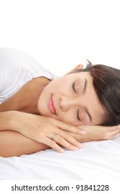 close up shot of beautiful sleeping woman with copy space on top of her