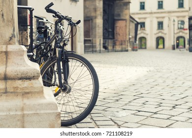 Close up shot of bicycle in old european city. Vienna, Austria