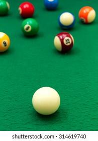 A close up shot billiard balls
