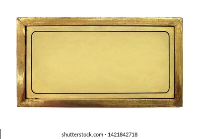 Close up shot of blank brass nameplate isolated over white background