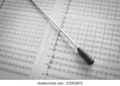 close up shot of  blank music note on soft focus of baton and def of field effect
