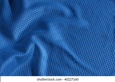 Close up shot of blue textured football jersey
