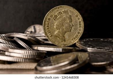 Close up shot of a british pound