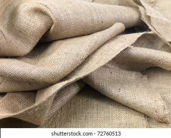 A close up shot of brown hessian cloth