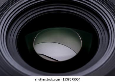close up shot of camera lens with leaf shutter system inside