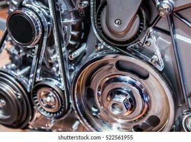 Close up shot of car engine.