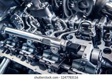 Close up shot of car engine. Automobile accessories concept. Internal design of engine.