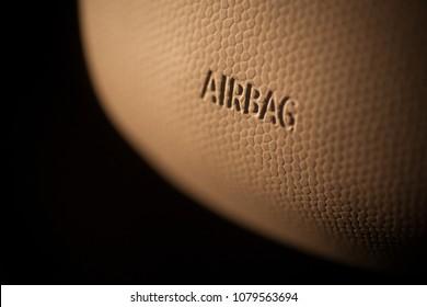 Close up shot of a car's airbag.