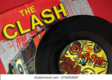 Close up shot of The Clash, This Is England retro vinyl single 11 JUNE 2020, Aylesbury, Buckinghamshire