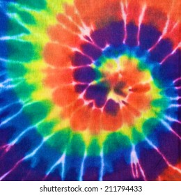 close up shot of colorful tie dye fabric texture background in square ratio