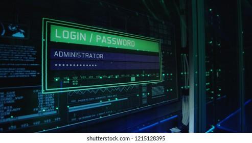 Close up shot of a computer login screen in a modern data center