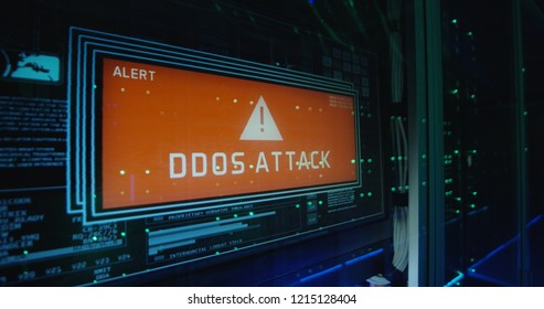 Close up shot of a computer login screen in a modern data center then appear message ddos attack