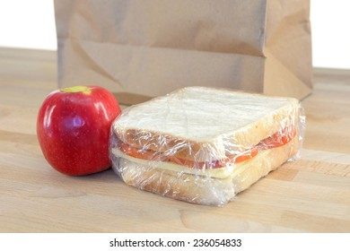 A close up shot of a conceptual packed lunch