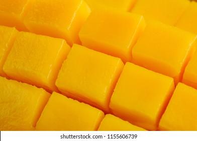 Close up shot of cube sliced mango fruit