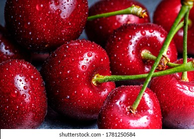 close up shot of dark red cherries with green stems covered with fine water splashes and pearls, hard reflections and dark moody shadows