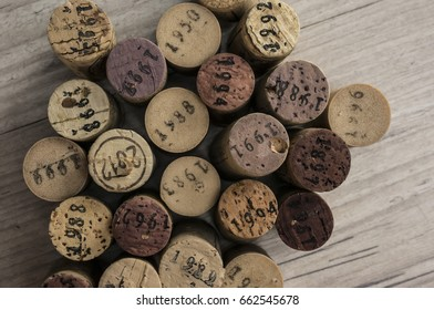 Close up shot of dated wine bottle corks