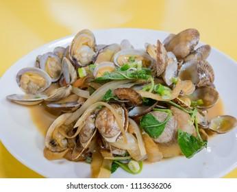 Close up shot of delicious fry clams, ate at Matsu, Taiwan