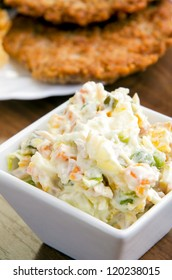 Close up shot of  delicious Russian salad - selective focus