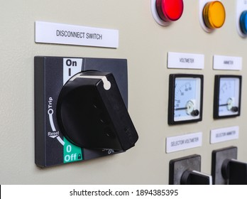 Close up shot of disconnect switch of a power panel