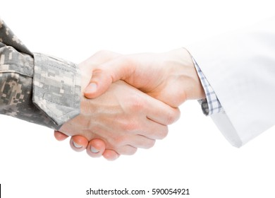Close up shot of a doctor and a military man shaking hands on white background