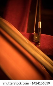 Close up shot of a double bass and a bow.