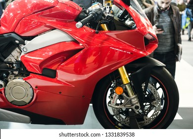 Close up shot of Ducati Panigale V4 S Motorcycle. International Motorcycle, Bicycle and Accessories Exhibition. Istanbul Motobike 2019.