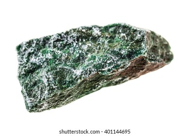 close up shot of a fragment of fuchsite mineral isolated on a white background