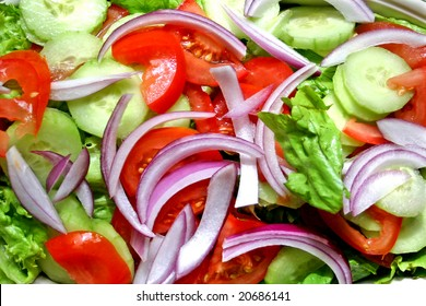 Close shot of fresh chopped salad ready for serving