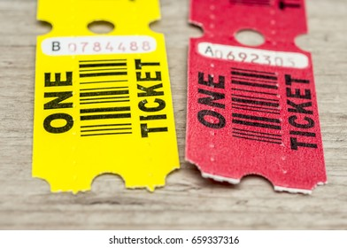 Close up shot of a generic pass or winning paper tickets