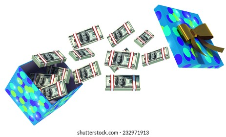 close up shot of gift box full of dollar bills isolated on white