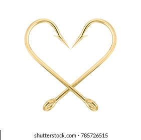 Close up shot of gold fish hook isolated on a white background