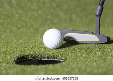 Close up shot of golf putt. Golf concept image.
