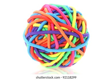 Close up shot of hair band ball on white background