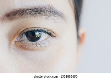 Close up shot of half face of young Asian woman, open her eye and looking to the camera isolated on white background.