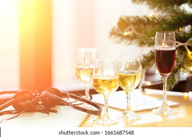 Close up shot of Holiday Decorations of Celebrating Christmas or New Year eve Party on Table