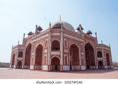 A close up shot of Humayun's tomb, one of the remnants of Mughal dynasty in Delhi India showcasing the mughal architecture. Remains of Humayun, the mughal ruler lies within this tomb along with others