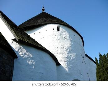 Close Shot of O?sterlars Kirke (Round Church)