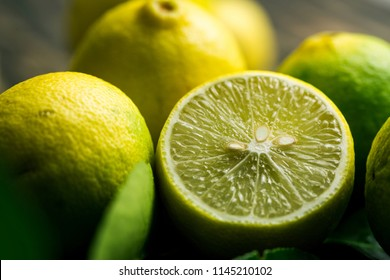 Close up shot of lime half fruit. Citrus.