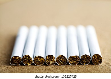 Close up shot of a line of cigarettes